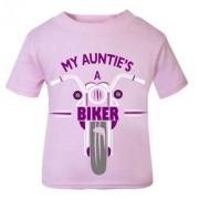 R - Pink purple My Auntie A Biker motorcycle childrens kids t shirt 100% cotton