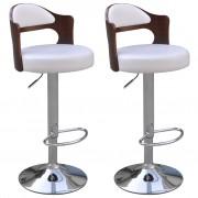 vidaXL Бар столове от изкуствена кожа, изрязани дървени облегалки, бели, 2 бр