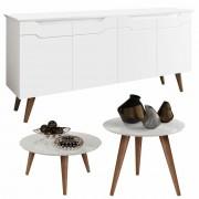 Conjunto Sala com Aparador Buffet Outlet / Mesa de Centro e Lateral Cissa - Branco - RPM Móveis