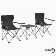 vidaXL 3-dijelni set stola i stolica za kampiranje sivi