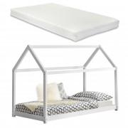 [en.casa]® Kiságy fenyőfa gyermekágy matraccal 200 x 90 cm ház-design matt fehér