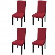 vidaXL Straight Stretchable Chair Cover 4 pcs Bordeaux
