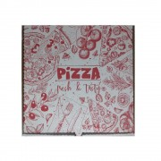 Cutii Pizza Albe, Model Pizza Fresh & Tasty, Dimensiune 28x3.5x28 cm, 100 Buc/Bax - Ambalaje din Carton