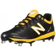 New Balance Men's 4040v5 Metal Low-Cut Baseball Cleat, Black/Yelllow, 6 M US