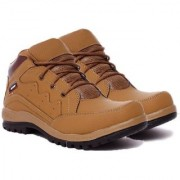 Shoe Island POPULAR Classic-X Tan Brown Leatherette Ankle Length Casuals