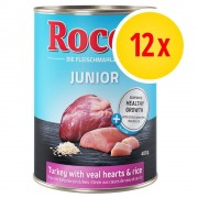 Rocco Fai scorta! Rocco Junior 12 x 400 g - Carni bianche e Selvaggina con Riso e Calcio