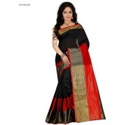 Black and Red Jaquard Wowen Work Cotton Silk bollywood Partywear Saree with Blouse