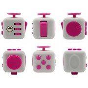 Alfa Mart 6-Side Cube Anxiety Stress Relief Focus Toys Fidget Toys Gift for Adults Children - White + Rose
