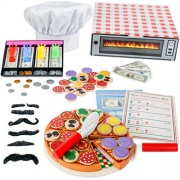 Jogo Pizza Play Food Set - Top & Bake Wooden Toys with Money Chef Hat by (121 Pcs) -Most Complete Oven Toy Velcro Toppings Pretend Kitchen Chef, Teach Learn