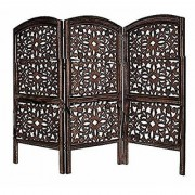 Shilpi Handicrafts Small Size Wooden Room Divider Screen Partition Made in Mango Wood Frame Jali in MDF Panel (3)