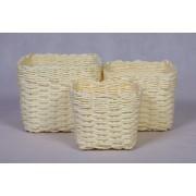 Dekorativní košíky mléčné sada 3ks