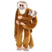Wild Republic Pluche bruine hangende apen met baby