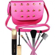 Super Deal 5in1 Makeup Brushes Mascara With Stylish Hand Bag For Beautiful Gilrs Set of 7 GC585-By Adbeni