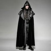 Punk Rave Ceremonial Embossed Hooded Cloak Long Cloak Black Y-693