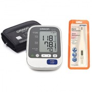 OMRON HEM-7130-L AUTOMATIC BP MONITOR WITH 5 YEARS WARRANTY AND DIGITAL THERMOMETER OMRON MC-246 COMBO.