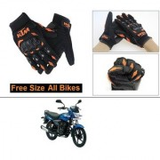 AutoStark Gloves KTM Bike Riding Gloves Orange and Black Riding Gloves Free Size For Bajaj Platina