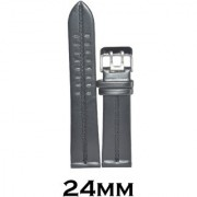 SURU 24mm Double Prong Buckle Leather Watch Strap (Black)