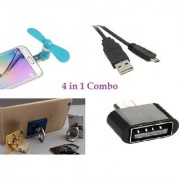 RAD SHOPPE 4 in 1 COMBO OF MINI FAN+SMART USB CABLE+MOBILE STAND+MICRO OTG