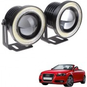 Auto Addict 3.5 High Power Led Projector Fog Light Cob with White Angel Eye Ring 15W Set of 2 For Audi A3 Cabriolet