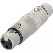 Neutrik XLR zásuvka / XLR zásuvka Neutrik NA 3 FF, adaptér rovný, stříbrná