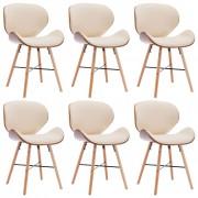 vidaXL Трапезни столове, 6 бр, кремави, изкуствена кожа и извито дърво