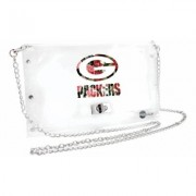 Little Earth NFL Clear Stadium Approved Floral Envelope Purse Green Bay Packers
