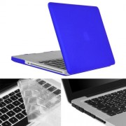 ENKAY Hat-Prince 3 in 1 Frosted Hard Shell Plastic Protective Case with Keyboard Guard & Port Dust Plug for Macbook Pro 15.4 inch(Dark Blue)