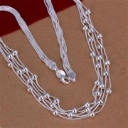 Colier elegant bilute placat argint
