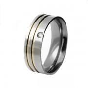 Aliança em aço inox confort reta 7mm c/ 2 filetes laterais em ouro e pedra de zircônia de 2mm