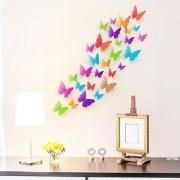 Jaamso Royals 'Multicolor 3D Butterflies' Wall Sticker 1 Combo of 19 Piece (PVC Vinyl 21 cm x 29.7 cm 3D Stickers )