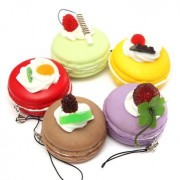 5CM Kawaii Fruit Squishy Charms Cute Soft Macaron Key Chain Cell Phone Strap