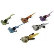 Geen 4x Decoratie vogels op clip groen met glitter 10 cm