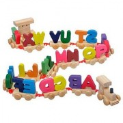 Wooden Alphabet Letters Train (A-Z) English Vocabulary Building Train Set Early Educational Toys Kids 2+ Years for Boys