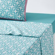 La Redoute Interieurs Lençol em algodão YUCATANestampado branco/turquesa- 240 x 290 cm