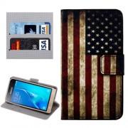 Samsung Galaxy J1 (2016) Case, J120 Case, USA Flag Pattern Horizontal Flip Leather Case with Holder & Card Slots & Wallet