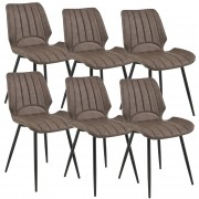 [en.casa]® Комплект от 6 дизайнерски стола, 77 x 57,5 x 46 cm, Еко кожа, Тъмнокафяв
