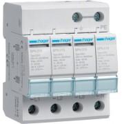Túlfeszültség levezető (cserélhető betétes) 4 pólus, C (T2) fokozatú, távjelző nélküli, 230/400 V/40kA (Hager SPN418)