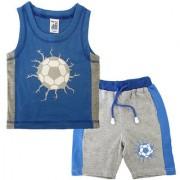 Magic Train Infant Blue Cotton Tee and Grey Panel Shorts Set