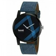 Hwt black dail blue leather strap party wear watches for mens
