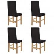 vidaXL Husă elastică scaune din poliester cu striații, maro, 4 buc.