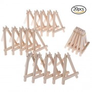 Mini Wooden Easels Display Tripod Easel Stand for Tabletop Art Craft, Pack of 20 Pcs - 2.75 Inch By 4.7 Inch
