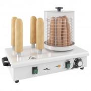 vidaXL rozsdamentes acél hot-dog melegítő 4 rúddal 550 W