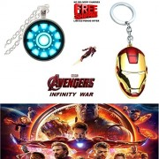 (2 Pcs AVENGER SET) - IRON MAN ARC REACTOR SILVER (SLV2) 3D GLASS DOME PENDANT & IRON MAN (RED/GOLD) LARGE IMPORTED KEYCHAIN. LADY HAWK DESIGNER SERIES 2018. ❤ LATEST ARRIVALS - NOW ON SALE IN AMAZON - RINGS, KEYCHAINS, NECKLACE, BRACELET & T SHIRT - CAPT