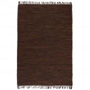 vidaXL Ръчно тъкан Chindi килим, кожа, 190x280 см, кафяв