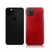 PIERRE CARDIN Genuine Leather Coated PC Back Phone Case for Apple iPhone 11 Pro Max 6.5 inch - Red