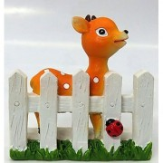 Wonderland 2.2 inches Deer on Fence Decoration Mini (terrarium home garden decor gifting)