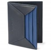 Lucleon Porte-cartes en cuir noir et bleu anti-RFID Loren
