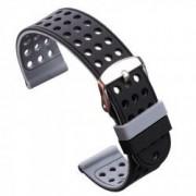 Curea silicon cu doua fete compatibila cu Smartwatch 24mm Negru/Gri