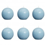 Bolsius Ball Rustic Candle Aqua 80mm 6 pcs Set