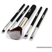 5 pcs Premium Synthetic Makeup Brush Set Cosmetics Foundation Blending Blush Eyeliner Face Powder Brush Kit (Black Silvery)